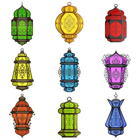 Eid の祭典のためのカラフルなアラビア語のランプの図  イラスト・ベクター素材