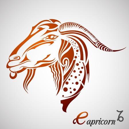 capricornio: ilustración vectorial de Capricornio, signo del zodiaco Vectores