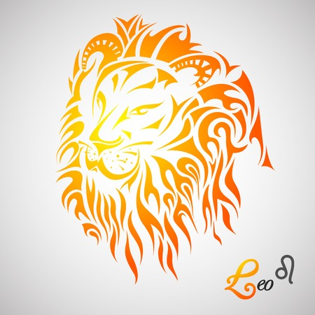 at sign: vector illustration of Leo Zodiac Sign