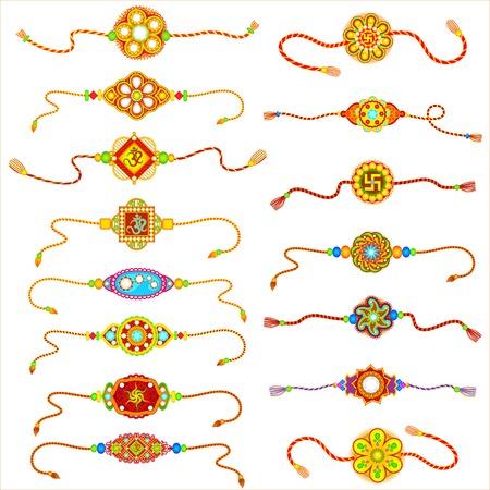 raksha: Rakhi Decorato per Raksha Bandhan Vettoriali