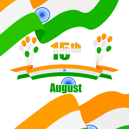 Indian Tricolor balloon and flag of India Vector