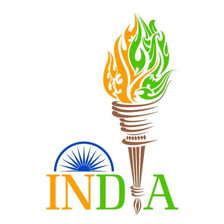 torch flame: Fire torch with India tricolo flame