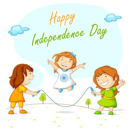 ashok: Kids skipping and celebrating Indian Independence Illustration