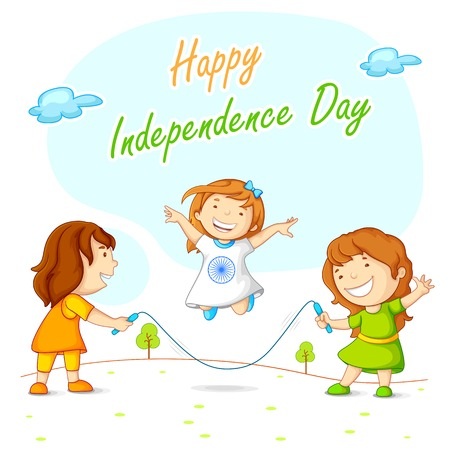 Kids skipping and celebrating Indian Independence Illustration