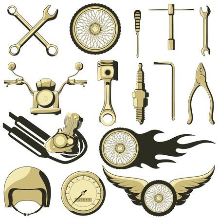 illustration of retro motor parts Vector