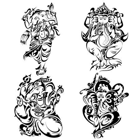 seigneur: le style de tatouage Seigneur Ganesha Illustration