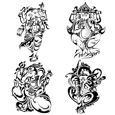 Tattoo style Lord Ganesha Illustration