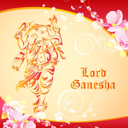 Lord Ganesha on floral backdrop Vector