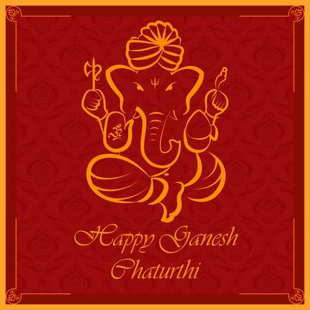 Seigneur Ganesha sur fond floral Banque d'images - 31400266