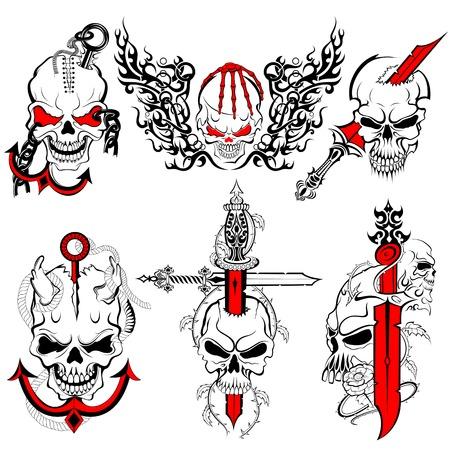 skull tattoo: Skull Tattoo ontwerp Stock Illustratie