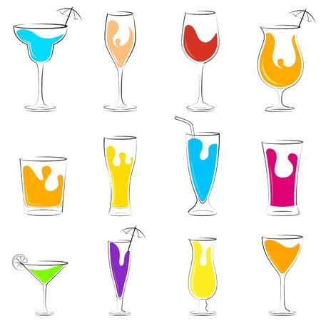 Cocktail and Beverage drink set Vector