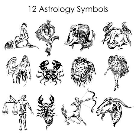 pisces: Astrology symbols Illustration