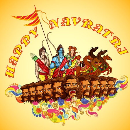 Lord Rama,Laxmana and Sita with Ravana in Happy Dussehra Illustration