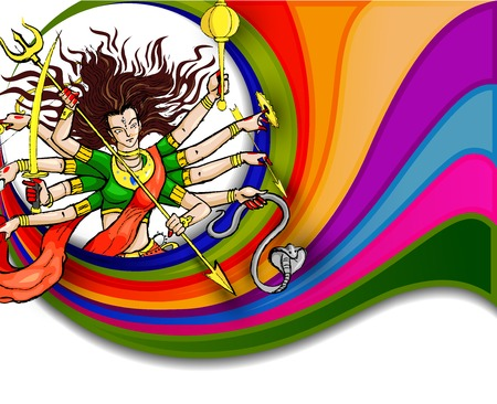 divinity: Goddess Durga for Happy Dussehra Illustration