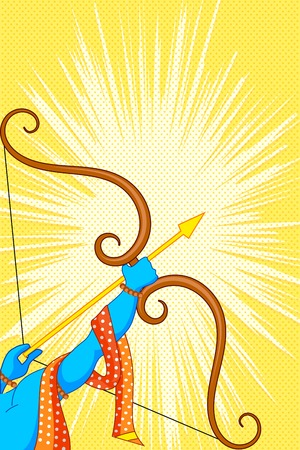 rama: Rama with bow and arrow in Happy Dussehra Offer poster Illustration