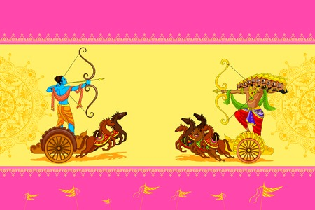 Rama killing Ravana in Happy Dussehra Illustration