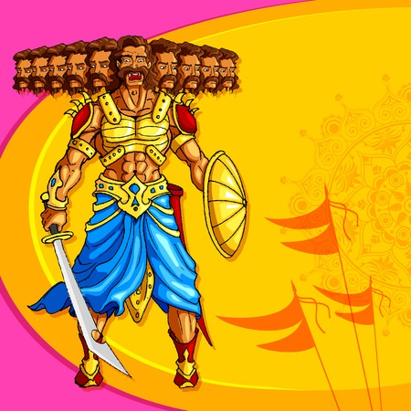 dussehra: Raavana with ten head holding sword Illustration