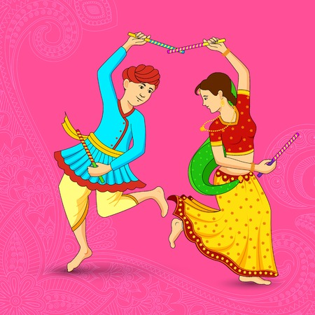 Man and woman dancing on Dandiya night Vector
