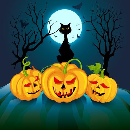 Black cat with pumpkins in Halloween night Vector