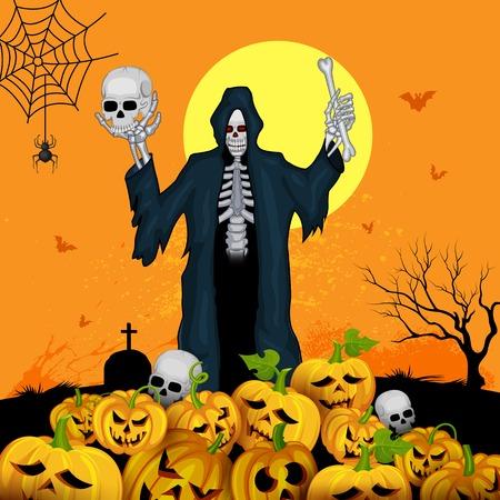 Skeleton with pumpkins in Halloween night Vector