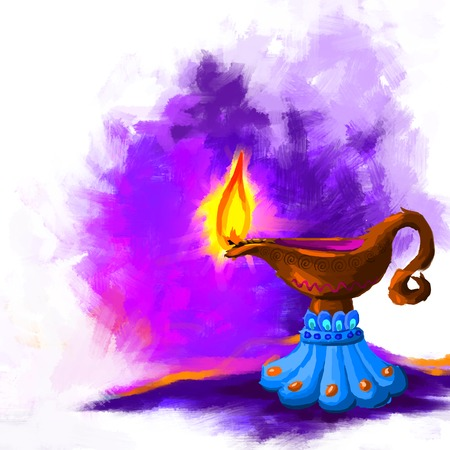 Happy Diwali Diya Vector