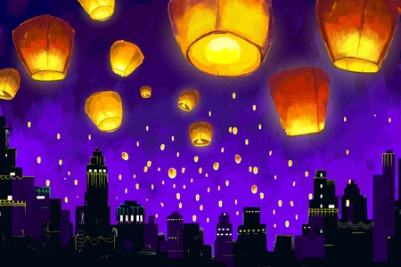 Floating lanterns in night sky Illustration
