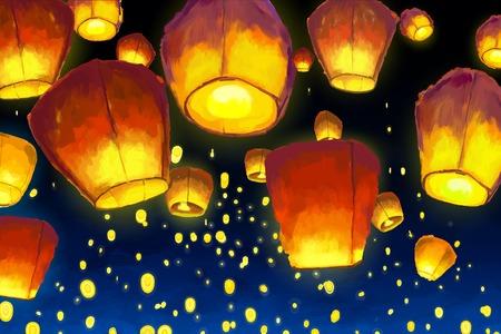 Floating lanterns in night sky Stock Illustratie