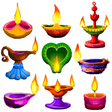 deepawali: Colorful Diwali Diya Illustration
