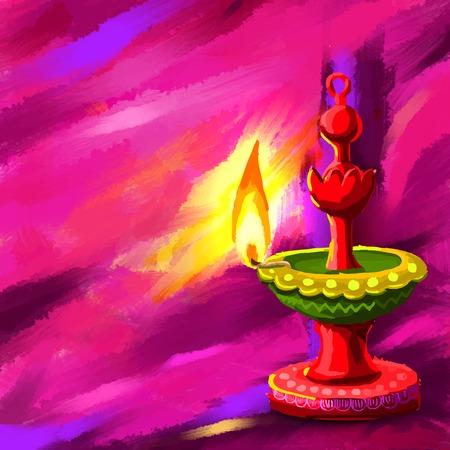 festival occasion: Happy Diwal Diya Illustration