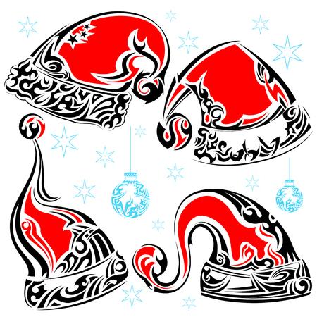 santa cap: Tattoo Style Christmas Cap Illustration