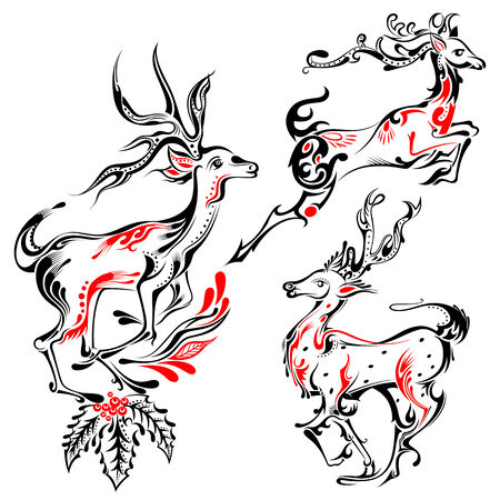 horny: Tattoo Style reindeer on Holy Christmas Background