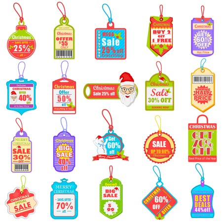 Christmas sale and promotion tag and dangler Vector