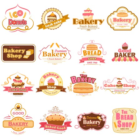 Labels and badges for fresh bakery product Stok Fotoğraf - 34662576