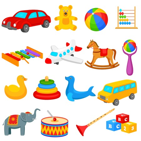 Collection of toys for kids Vector