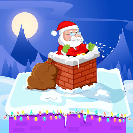 cartoon fireplace: Santa Claus entering through fireplace chimney on Christmas
