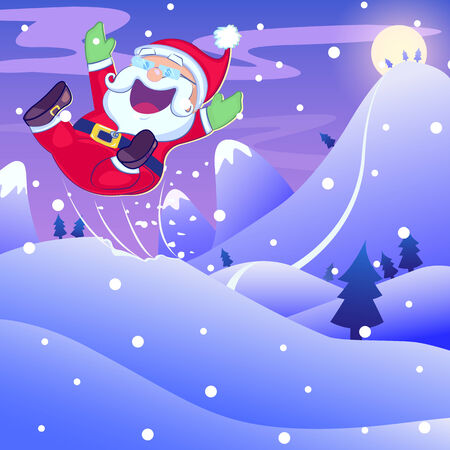 hopping: Santa Claus hopping in Christmas night