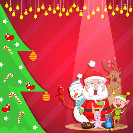 Santa with friends wishing Merry Christmas Vector