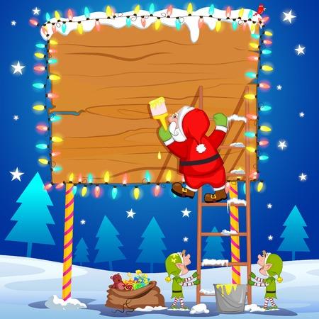 helper: Santa Claus writting Merry Christmas on board