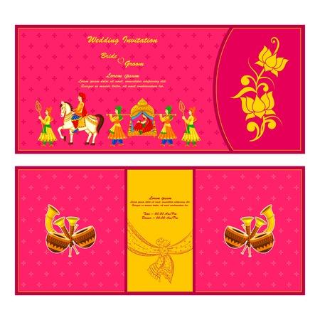 Vector illustratie van de Indiase bruiloft uitnodiging kaart Stockfoto - 35121832