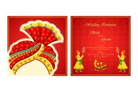 Vector illustratie van de Indiase bruiloft uitnodiging kaart Stockfoto - 35121834