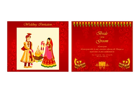 asian wedding couple: vector illustration of Indian wedding invitation card