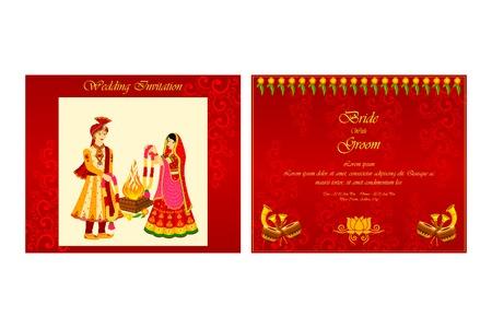 vector illustration of Indian wedding invitation card Stok Fotoğraf - 35121835