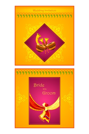festive: vector illustration of Indian wedding invitation card