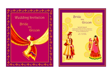 vector illustration of Indian wedding invitation card Stok Fotoğraf - 35121838