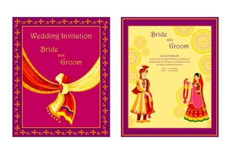 esküvő: vektoros illusztráció az indiai esküvői meghívó Illusztráció
