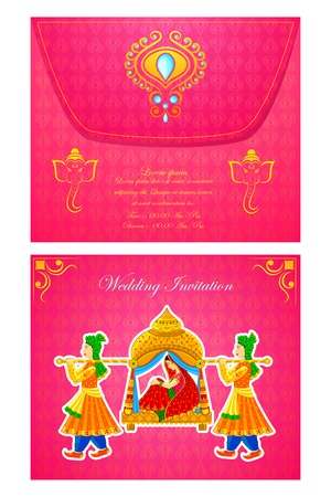 spouse: vector illustration of Indian wedding invitation card