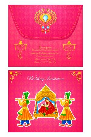 Vektor-Illustration der indischen Hochzeitseinladungskarte