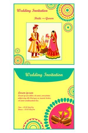 ilustración vectorial de tarjeta de invitación de boda india Ilustración de vector