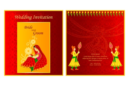 greetings card: vector illustration of Indian wedding invitation card