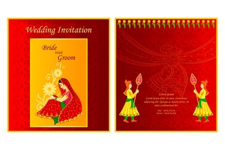 editable invitation: vector illustration of Indian wedding invitation card